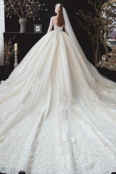 Vestido de novia Elegante Baja escote en V Escote redondo Corte-A Cordón