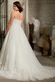 Vestido de novia Natural Corte-A Escote Corazón largo primavera Apliques
