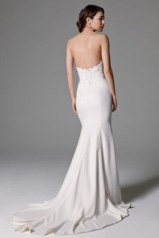 Vestido de novia largo Encaje Corte Recto Escote Corazón Abalorio Natural