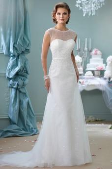 Vestido de novia Corte-A primavera Cremallera Manga corta Perlas tul