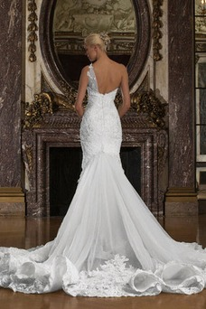 Vestido de novia Sin mangas Apliques Cola Catedral Cremallera Natural