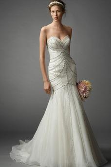 Vestido de novia Colores Perlas Sin mangas largo Fuera de casa Escote Corazón