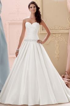 Vestido de novia Satén Sin mangas Escote Corazón largo Volantes Adorno