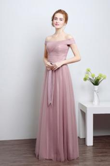 Vestido de dama de honor Corte-A Sencillo Drapeado Natural tul Hasta el suelo