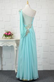 Vestido de noche Corpiño Acentuado con Perla Pura espalda Corte-A Cristal