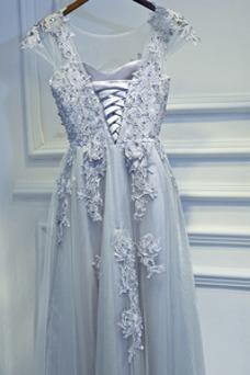Vestido de dama de honor Verano Espectaculares Apliques Escote redondo Cordón