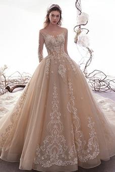 Vestido de novia Natural Corpiño Acentuado con Perla Falta Cola Real