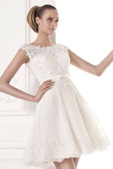Vestido de novia Barco Cremallera Glamouroso Verano Corte-A Manga corta