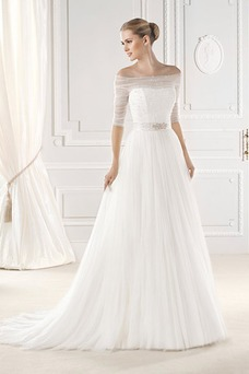 Vestido de novia Corte-A Con velo Natural Modesto Mangas Illusion Cristal