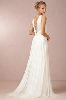 Vestido de novia Sencillo Sin mangas Espalda medio descubierto Fajas