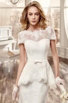 Vestido de novia Corte Recto Glamouroso Fajas Barco Manga tapada Encaje