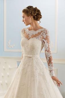 Vestido de novia Corte princesa Espalda medio descubierto Encaje Natural
