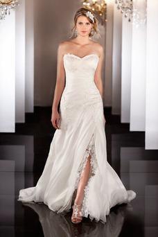 Vestido de novia Espalda medio descubierto Apliques Sala primavera largo