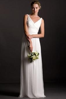 Vestido de dama de honor Playa Corte Recto Diosa vestido de novia gris claro