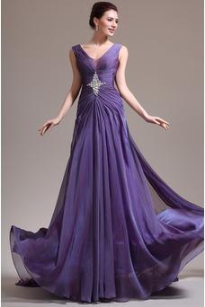 Vestido de noche Elegante Gasa Hasta el suelo Púrpura Escote en V Abalorio