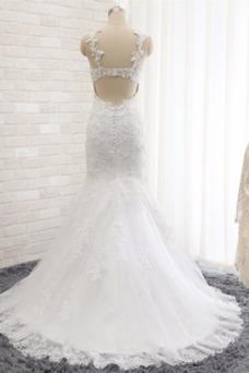 Vestido de novia Romántico Abalorio Espalda Descubierta Otoño Natural