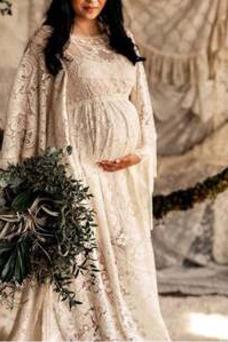 Vestido de novia Romántico Manga larga primavera Encaje Imperio Pura espalda