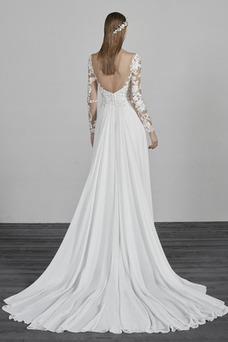 Vestido de novia Sencillo Drapeado primavera Encaje Baja escote en V