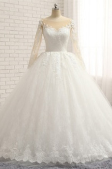 Vestido de novia Invierno vendimia Botón Satén Pura espalda Barco