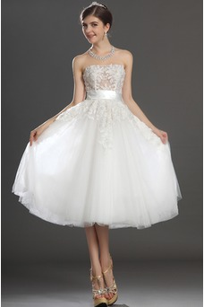 Vestido de novia Romántico tul Blanco Hinchado Abalorio Natural