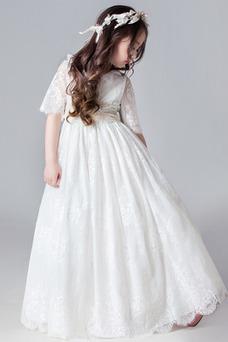 Vestido niña ceremonia Verano Corte-A Capa de encaje Hasta el suelo Mangas Illusion