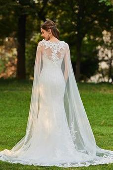Vestido de novia Corte Sirena Encaje Pura espalda Drapeado Tallas pequeñas