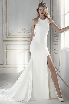 Vestido de novia Playa Frontal Dividida Satén Drapeado Cola Corte Sin mangas