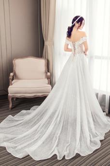 Vestido de novia Natural Cordón Manga tapada Falta Apliques Corte-A