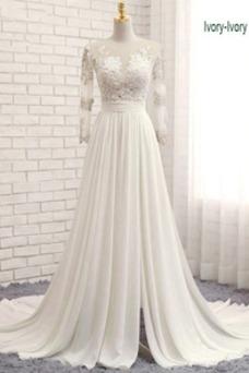Vestido de novia Fuera de casa Pura espalda Gasa Cola Barriba Corte-A