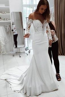 Vestido de novia Manga larga Corte Sirena Falta Capa de encaje Encaje