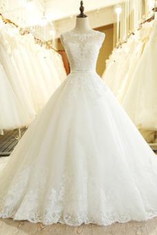 Vestido de novia Natural Corte-A Satén Apliques Joya Formal
