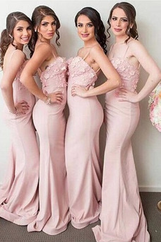 Vestido de dama de honor largo Escote de Tirantes Espaguetis Cremallera Corte Sirena