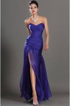Vestido de fiesta Glamouroso azul medianoche Sin tirantes Hasta el suelo