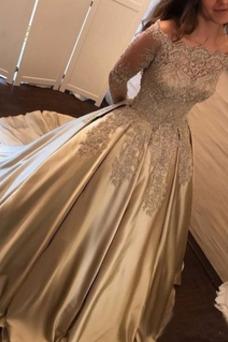 Vestido de fiesta Natural Escote con Hombros caídos Capa de encaje Falta