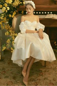 Vestido de novia Playa Oscilación Manga corta Manga Puf Natural Escote Corazón