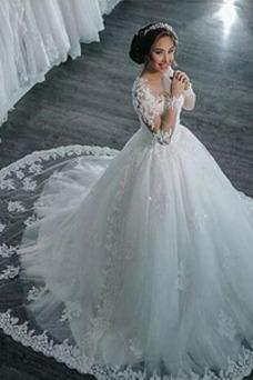 Vestido de novia Manga larga Encaje Capa de encaje Apliques Clasicos