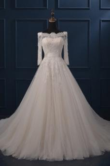 Vestido de novia Mangas Illusion Encaje Corte-A Abalorio Escote con Hombros caídos
