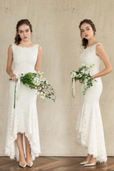 Vestido de novia Encaje Corte Sirena Sin mangas Fuera de casa Verano