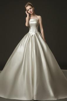 Vestido de novia Natural Cola Real Satén Iglesia Espalda Descubierta