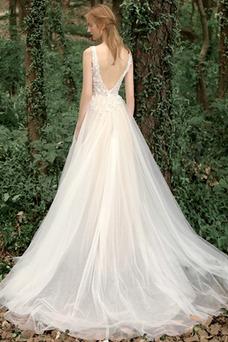 Vestido de novia Corte-A Sin mangas Natural Verano Flores Espalda Descubierta