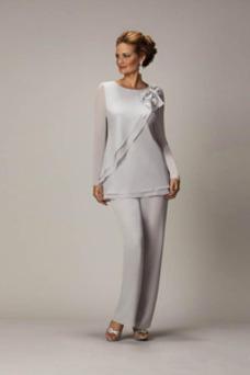 Vestido de madre traje de pantalones Joya Hasta el Tobillo Alto cubierto Elegante Abalorio