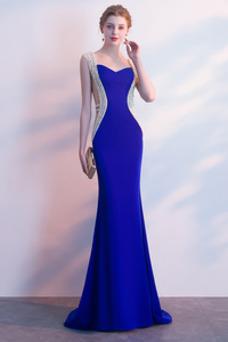 Vestido de fiesta Otoño Colores Corte Sirena Natural Cremallera Cola Barriba
