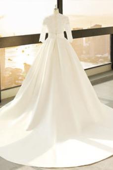 Vestido de novia Camiseta Escote en V Pera Encaje Espalda con ojo de cerradura