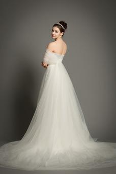 Vestido de novia Elegante Drapeado Cola Capilla Cremallera Natural tul