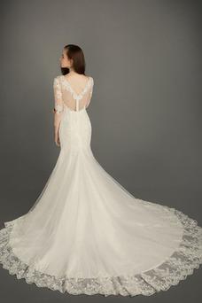 Vestido de novia Iglesia Corte-A Otoño Cremallera largo tul