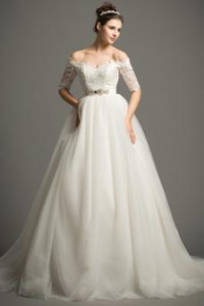 Vestido de novia Elegante Escote con Hombros caídos tul Apliques Hasta el suelo