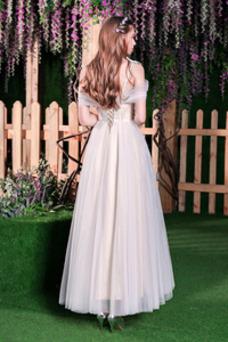 Vestido de novia Falta Natural Escote con Hombros caídos Cordón Corte-A