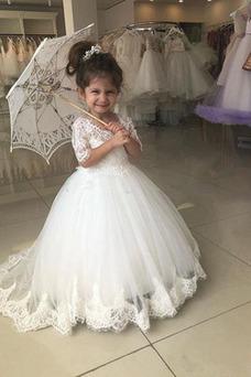 Vestido niña ceremonia Natural tul Corte-A Verano Escote en V Cola Barriba