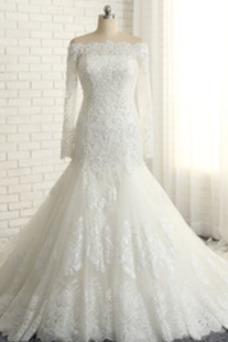 Vestido de novia Cordón Cola Catedral Rectángulo Natural Escote con Hombros caídos