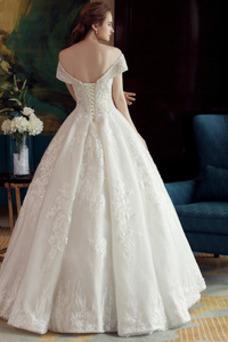 Vestido de novia Corpiño Acentuado con Perla Manga corta Triángulo Invertido